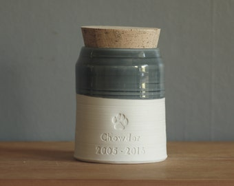 Quote pet urn for human ashes or use as pet urn. Modern simple pottery memorial urn. white porcelain clay, slate glaze shown