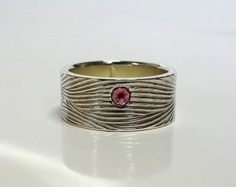 Rhodolite Garnet Textured Stacker Ring | READY to SHIP |  8mm Sterling Silver Band, Textured Wedding band