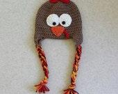 Turkey Ear Flap, Turkey Hat, Newborn Photo Prop, Fall Autumn Thanksgiving Crochet Newborn, Thanksgiving Outfit