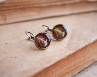 Real leaf earrings - brown resin jewelry - rustic autumn fall finds