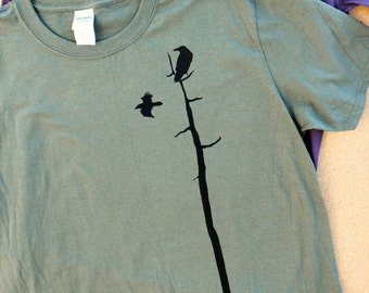 RAVENS tee, birders shirt, nature t-shirt, gildan soft style, military green, charcoal, birdwatcher, crow, raven silhouette