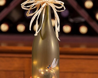 Lighted Wine Bottle Lamp  - Hand Painted Pearlized Dragonfly Personalized Gift  Housewarming Gift Accent Lighting Art Deco Night Light