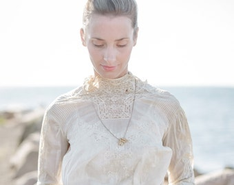 Antique Top. Victorian Edwardian Ruffled High Collared Blouse With Peplum., XSM. Cotton Lace.