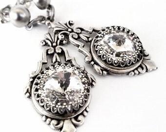 Swarovski Crystal Earrings Victorian Earrings Bridal Earrings Silver Earrings Post Earrings Vintage Style Victorian Bridal Jewelry