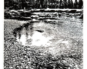Lembert and Tuolumne - Yosemite, Meadows, River and Granite Domes, Linocut Relief Print 24 x 18 Black & White, national park, meadow, NPS