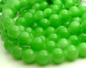 Light Green Round Glass Beads - 12mm Two Tone Green Beads - 17pcs - BN20