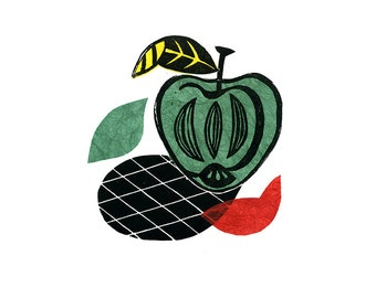 Apple Pop Linocut Print & Chine-collé 2 of 10 (apple design 2)