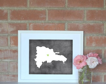 Dominican Republic Chalkboard Country Map. Dominican Republic Personalized Map. Wedding Map Art. Wedding Gift. Art Print 8x10..