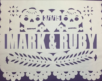 Papel Picado Banner - Day of The Dead Wedding Date & Names