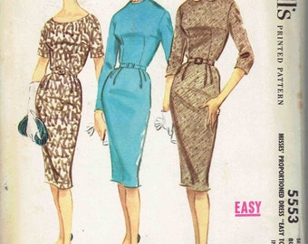 60s Wiggle Dress Pattern McCall's 5553 Proportioned for Tall, Avg, Petite Figures. Scoop or Jewel Neck, Peter Pan Collar. Size 14 Bust 34 in