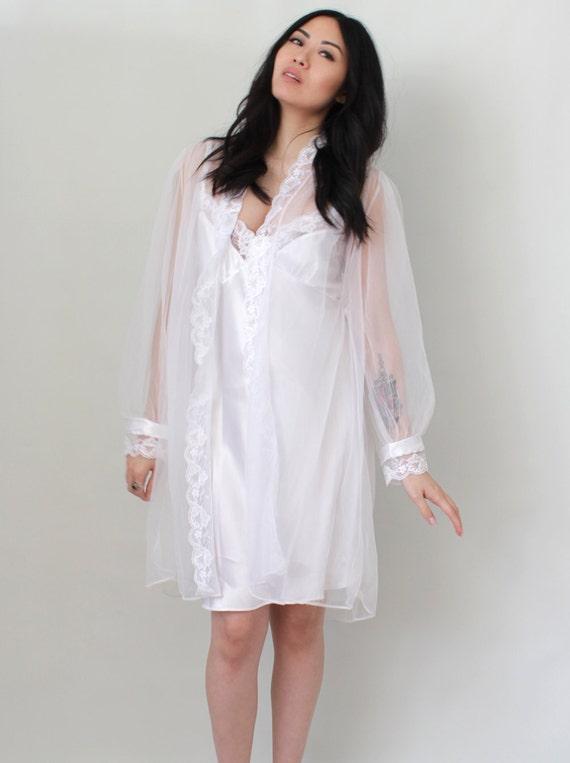 Vintage Lingerie Bridal Wedding Peignoir Set Negligee Dress