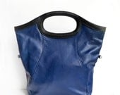 Last ONE! Cross body Tote, Fold Over Bag, Large Fold  Over Tote, Navy Leather Handbag