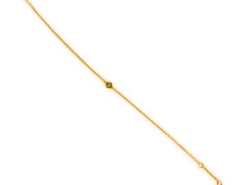 Dainty Chain Bracelet - Delicate Tiny Gemstone Bracelet - Layering Bracelet - Petite Peridot Bracelet - Birthstone - Friendship
