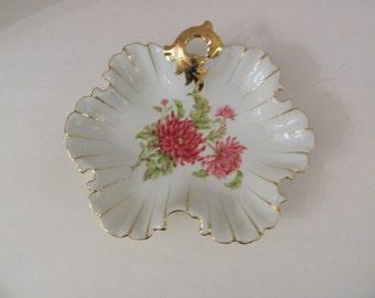 Porcelain Floral Ruffle Gilt Edging Trinket  Bon Bon Candy Dish