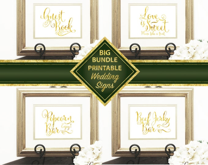 Wedding Signs Big Bundle, Welcome, Gift & Card, Guest Book, Love is Sweet, Popcorn Bar, Photo Booth, Late Night Snacks, Beef Jerky Bar, DIY