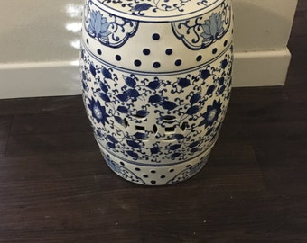 Garden Stool Blue White Chinoiserie Porcelain Chinese Oriental