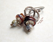 Brown and Blue Earrings, Unusual Jewelry, Small Etched Lampwork Glass Beads, Drop Earrings on Oval Hoops, Artisan Hammered Copper Jewelry