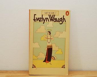 Vile Bodies by Evelyn Waugh, vintage Penguin book, 1970s paperback, orange cover