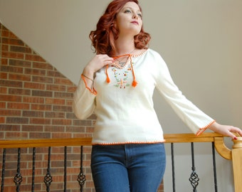 Vintage white embroidered sweater, bell sleeves, orange floral 1970s, L