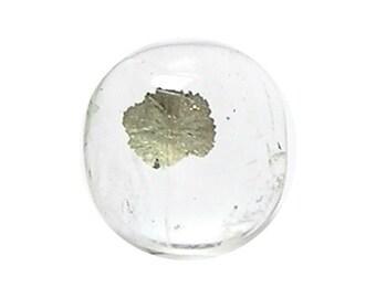 Golden Pyrite Flakes in Gem Clear Quartz,  Semiprecious Gemstone Cabochon, Focal Pendant DIY Jewel, Natural Semi precious Geo Rock Crystal