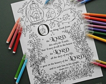 Coloring Book Page. Instant Download PDF. Adult and Children Coloring page. Psalm 27:4