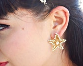 Pearl Earrings- Starfish studs - beach wedding  beach bridal - starfish earrings - Star gold studs  Sterling silver Starfish Wedding jewelry