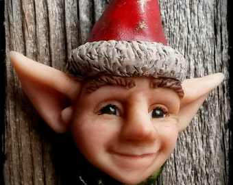 Christmas elf hand sculpted pendant necklace
