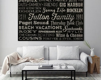 Typography Puzzle Format Custom Personalized Wall Art -  READY to HANG - Stretched Canvas Wall Art Anniversary Engagement Birthday