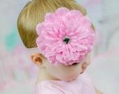 Pink Dahlia Flower on Soft Elastic Headband - Little Girls Hair Bow- Newborn Baby Photo Prop Hairbow - Easter Spring Summer Casual