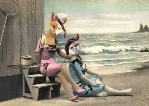 Nellie and Kelly, Fox and Cat Print, Whimsical Fox Art,  Anthropomorphic Fox, Photo Collage, Beach Decor, Summer Art, Fox Note Cards