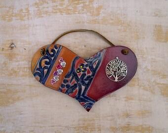 Tree of Life Heart Wall Hanging, Handmade Ceramic Wall Heart with Silver Tone Tree of Life Charm, Love Sign, XOXO Home Decor, Ready to Ship.