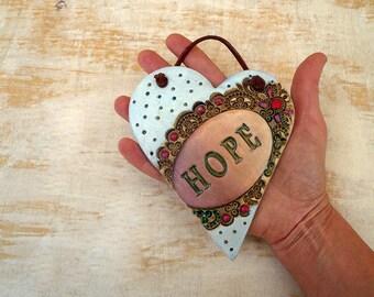 Hope Heart Wall Hanging, Handmade Pottery Hope Sign Wall Decor, Sweet 16 Gift, Ceramic Heart, Ready to Ship.