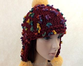 Super Chunky Hand Knit Hat Bordo Wine Merino Wool Beanie Rain Ribbed Russian Ushanka Skull Cap Striped Flowers Colorful Women Teens Pom Pom