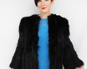 Gorgeous 1940s Black Skunk Fur Chubby Jacket Coat SIZE SMALL