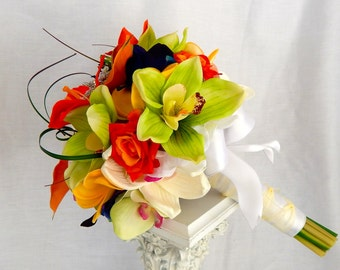 Beach Wedding Bouquet- Seashell and Starfish Bridal Bouquet , Destination Wedding,  Silk Flower Bouquet, Customized To Your Colors- SOLD
