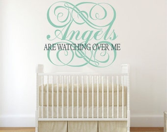 Angels Wall Decal, Angels Decor, Religious Wall Decal, Nursery Angel Decor, Angels Are Watching Over Me  KAL - WD0203