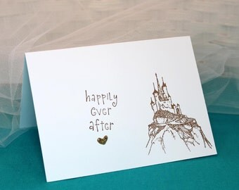 Set of 6 Hand Stamped Castle Cards Happily Ever After