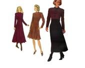 Butterick 3670 Sewing Pattern High Neck Business Dress Long Sleeve Empire Waist Princess Seam Casual Style Full Figure Plus Size
