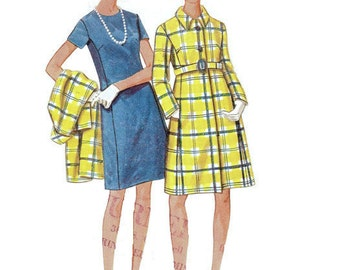 Butterick Retro 60s Sewing Pattern 5010 Basic Sheath Dress High Fashion Coat Full Figure Plus Size Bust 42