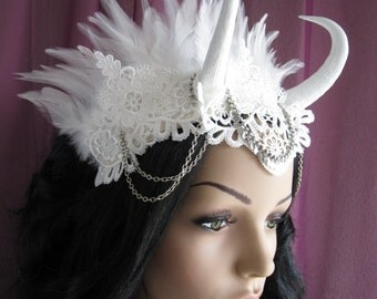 Horned Headdress Headband Headpiece Crown Horns Feathers Lace Off White Halloween White Swan Gothic Wedding Bride