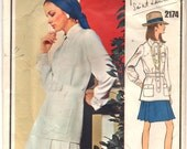 "1960's Vogue Paris Original Top and Pleated Skirt Pattern - Yves Saint Laurent - Bust 38"" - No. 2174"
