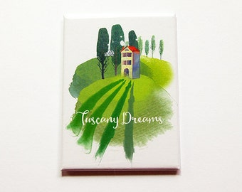 Tuscany Magnet, Kitchen Magnet, Large Magnet, ACEO, travel magnet, Tuscany Dreams, Italy magnet, wine country magnet (5889)