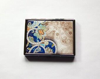 Paisley Cigarette Case, Slim Cigarette Case, Blue Paisley, Paisley case, Metal Cigarette Box, Cigarette Holder, cigarette case (5962)