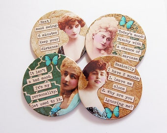 Funny Coasters, Drink Coasters, Wine Coasters, Retro Coasters, Coasters, Humor, Funny Women, Sassy Women, Gift for her, Retro (6076)