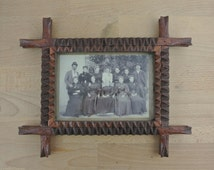 Vintage Rustic Wood Tramp Art Frame w/ Photograph 1800s   Antique Hand Carved Notched Folk Art   Rustic Picture Frame