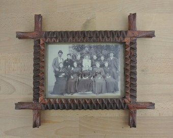 Vintage Rustic Wood Tramp Art Frame w/ Photograph 1800s | Antique Hand Carved Notched Folk Art | Rustic Picture Frame