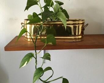 vintage brass planter. vintage hollywood regency mid century plant box. Mid century rectangular geometric boho brass window box plant