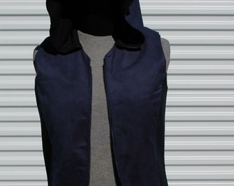 S Mens Cyberpunk Hooded Vest Blue