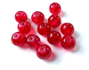 Bright Red Glass Beads 8mm Round Beads, Ruby Red Crackle Cracked Beads, DIY Jewelry Making, Christmas Holiday Beads - 12 Pieces  SP675-R