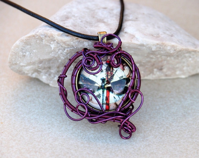 Purple butterfly pendant